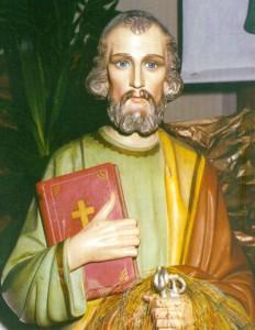 Imagem de São Pedro que fica na Capelinha do fundo da igreja