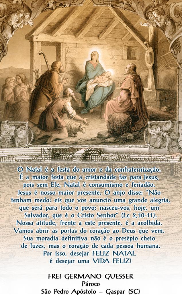 Mensagem do pároco Frei Germano por ocasião do Natal