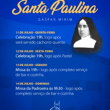 Festa da Comunidade Santa Paulina, veja programação