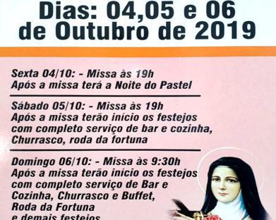 Festa da Comunidade Santa Terezinha, veja programação.